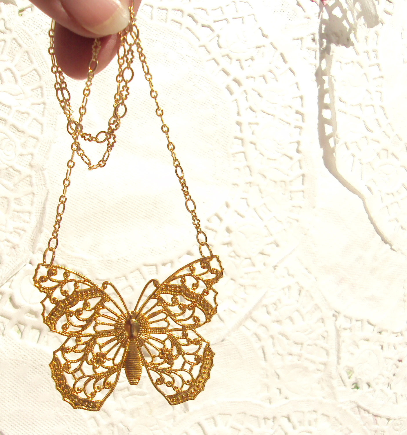 Butterfly Wings Gold Butterfly Necklace on Luulla
