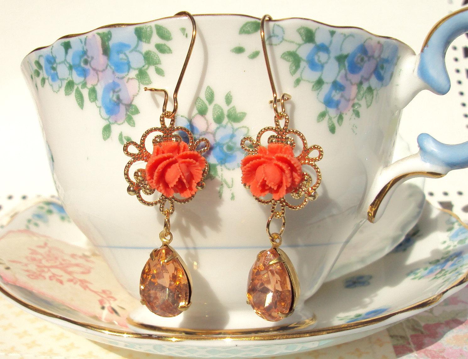 Amber Rose Vintage Glass Jewel Earrings On Luulla